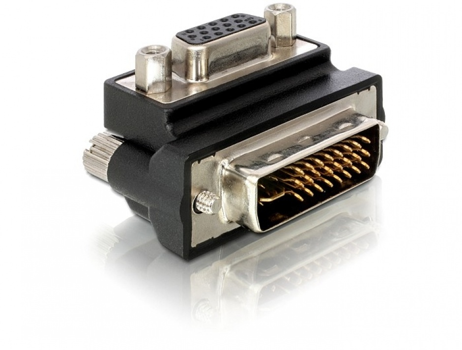 Imagine Adaptor VGA la DVI-I Dual Link 24+5pini M-T unghi 90grade, Delock 65172