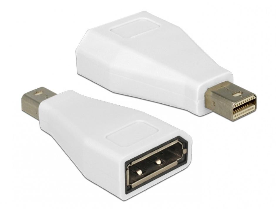 Imagine Adaptor mini Displayport la Displayport T-M Alb, Delock 65239