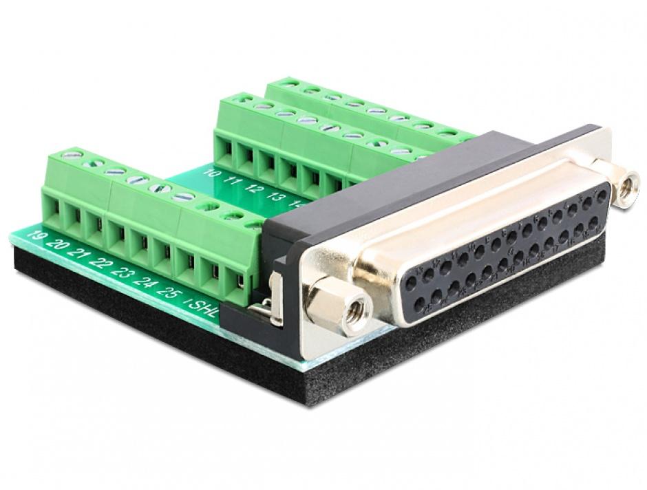 Imagine Adaptor D-Sub 25 pini M la bloc terminal 27 pini, Delock 65317