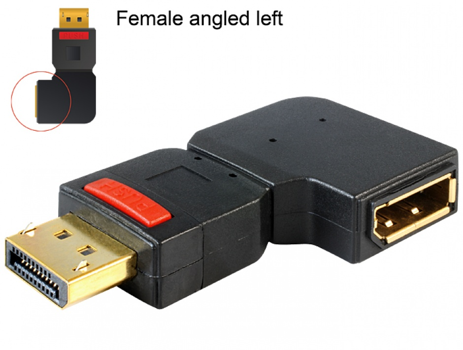 Imagine Adaptor Displayport T-M unghi stanga, Delock 65377