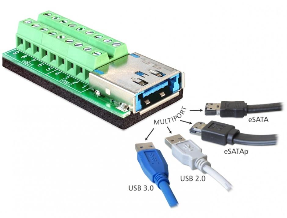 Imagine Adaptor Multiport USB 3.0 + eSATAp mama la bloc Terminal 18 pini, Delock 65405