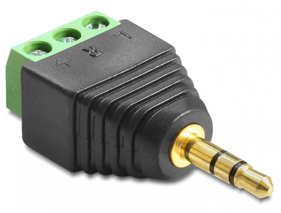 Imagine Adaptor jack Stereo Tata 3.5 mm la Bloc Terminal 3 pini, Delock 65419