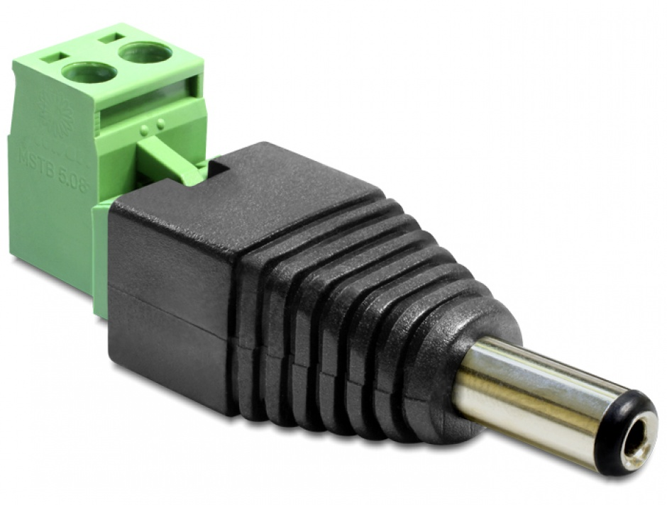 Imagine Adaptor DC 2.1 x 5.5 mm Tata la Bloc Terminal 2 pini, 2 parti, Delock 65422