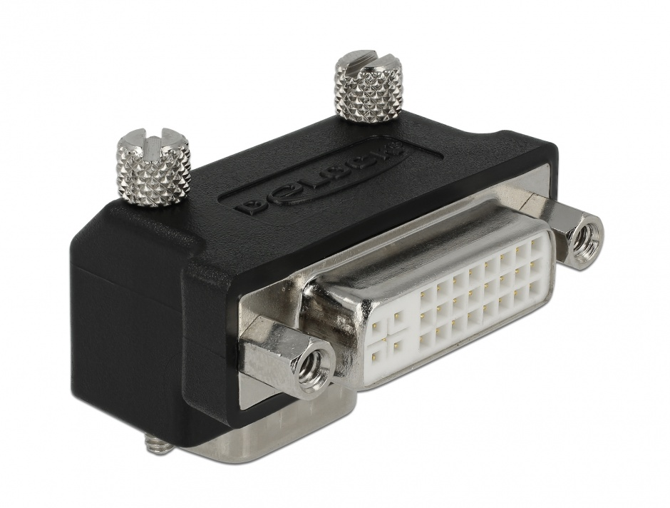 Imagine Adaptor DVI 24+5 pini la VGA 15 pini M-T 90 grade, Delock 65425