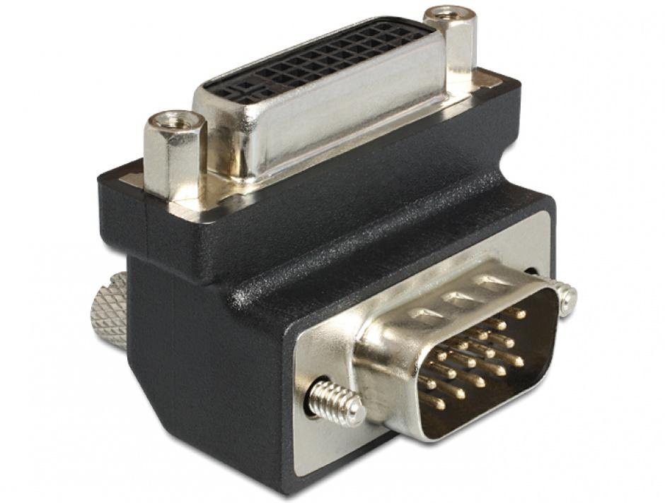 Imagine Adaptor DVI-I Dual Link 24+5 pini la VGA M-T unghi 270 grade, Delock 65426