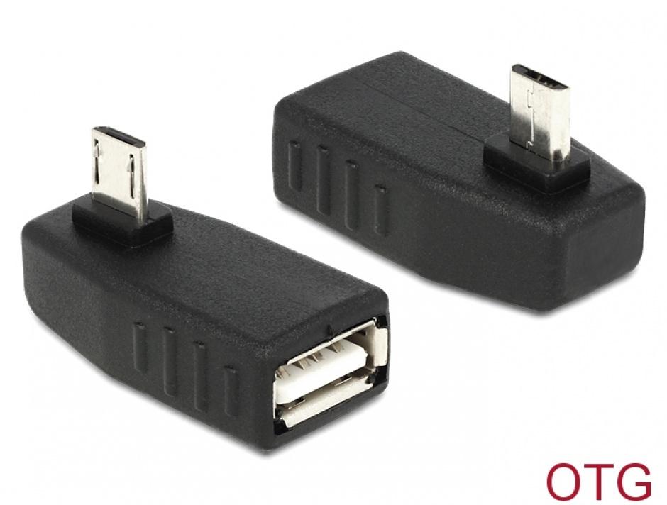 Imagine Adaptor micro USB B la USB 2.0 A T-M OTG unghi 90, Delock 65474