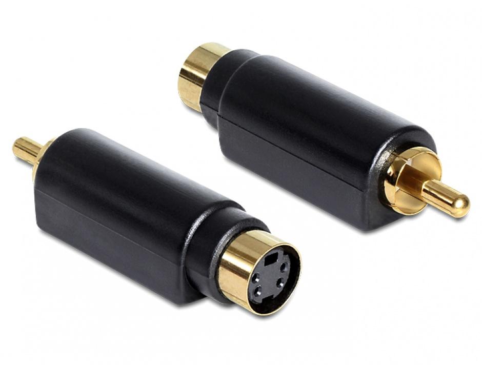 Imagine Adaptor S-Video mini Din mama 4 pini la 1x RCA tata, Delock 65490