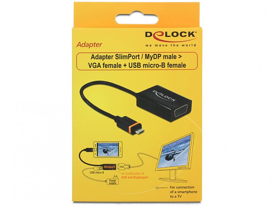 Imagine Adapter SlimPort / MyDP la VGA + Micro USB, Delock 65551