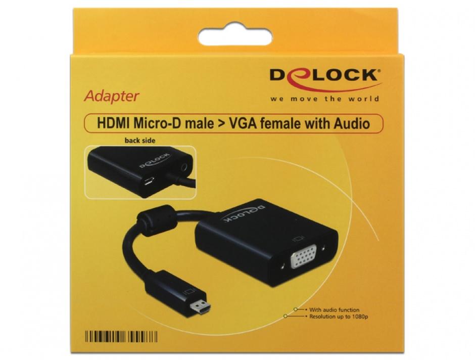 Imagine Adaptor micro HDMI-D la VGA cu Audio T-M, Delock 65558