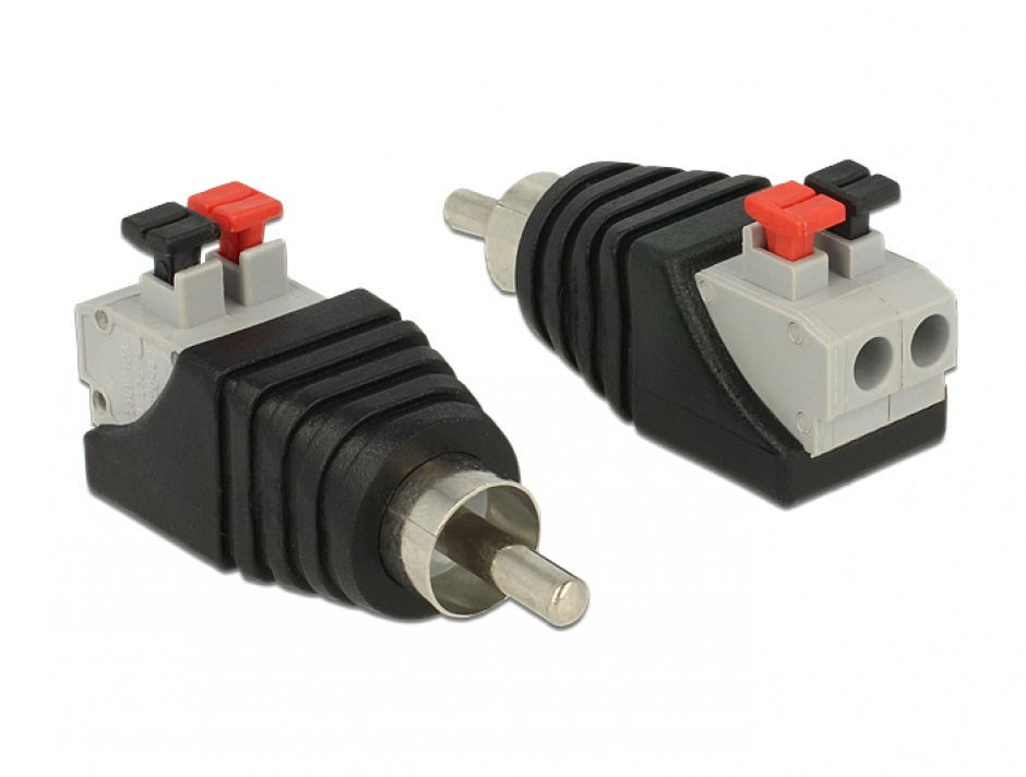 Imagine Adaptor RCA tata la terminal block cu buton apasare 2 pini, Delock 65566