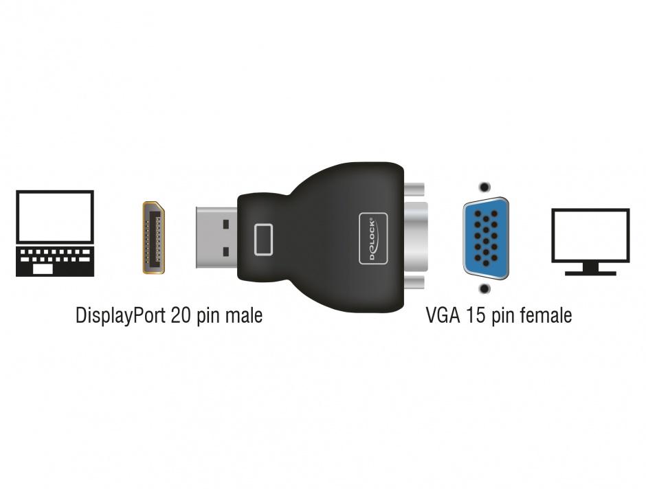 Imagine Adaptor Displayport la VGA T-M Negru, Delock 65567