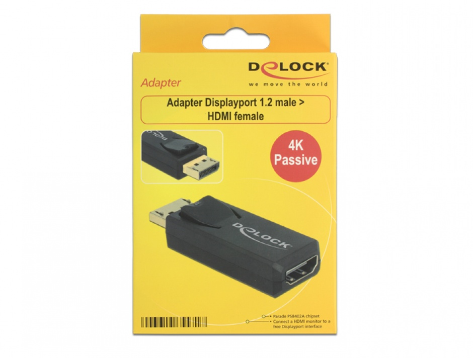 Imagine Adaptor Displayport 1.2 la HDMI T-M 4K Pasiv negru, Delock 65571