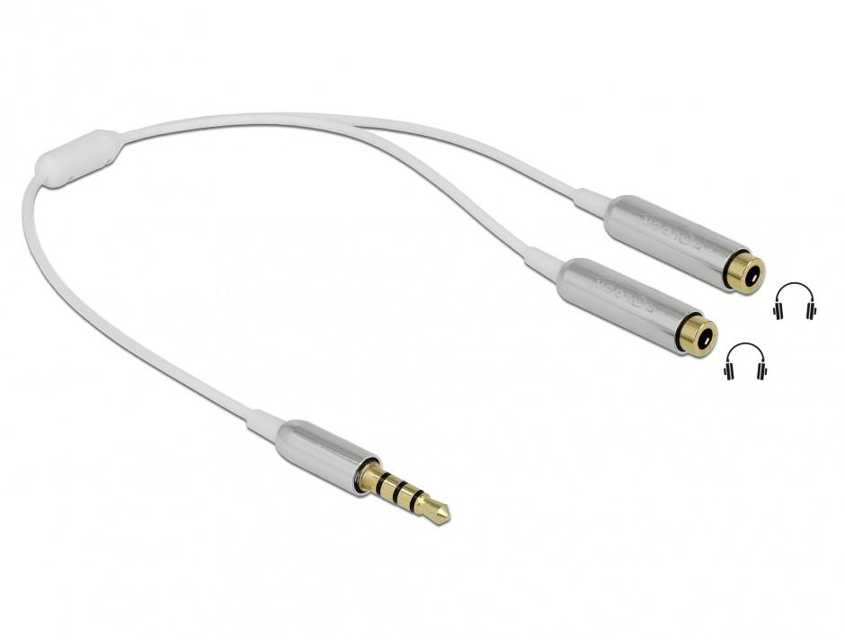 Imagine Splitter stereo jack 3.5mm la 2 x jack 3.5mm 4 pini 25cm, Delock 65576