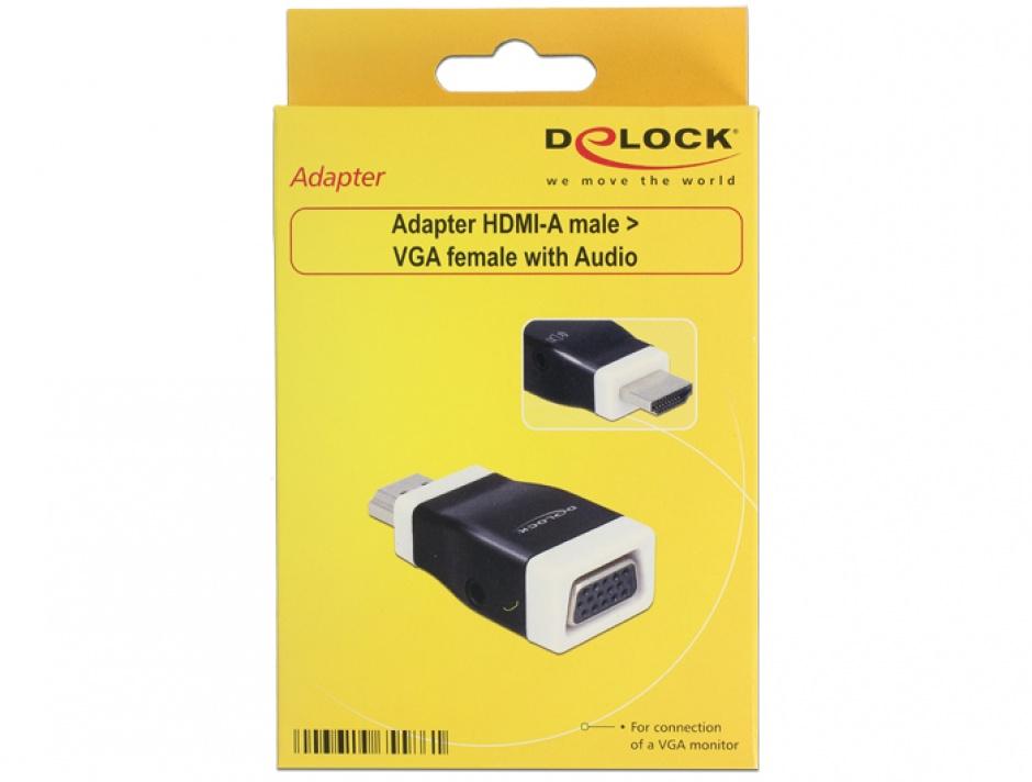 Imagine Adaptor HDMI la VGA cu Audio T-M, Delock 65586