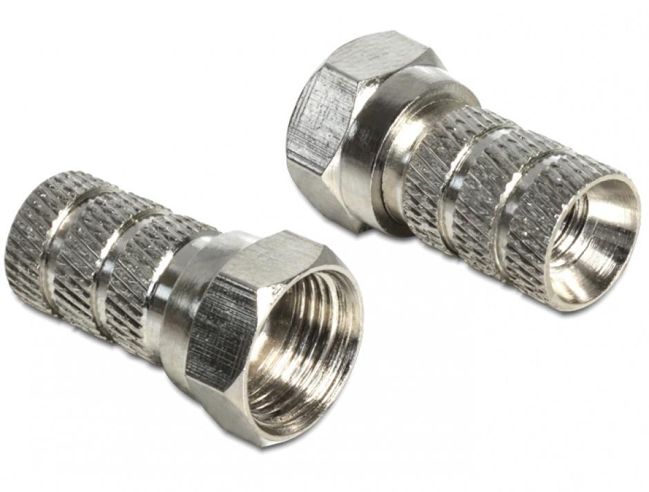 Imagine Conector F antena/coaxial (TV) pentru cablu cu diametru 5.0 - 5.2 mm, Delock 65615