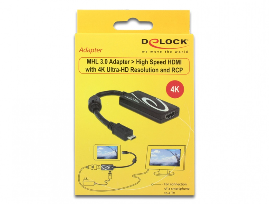 Imagine Adaptor MHL 3.0 la High Speed HDMI 4K Ultra-HD si RCP, Delock 65643