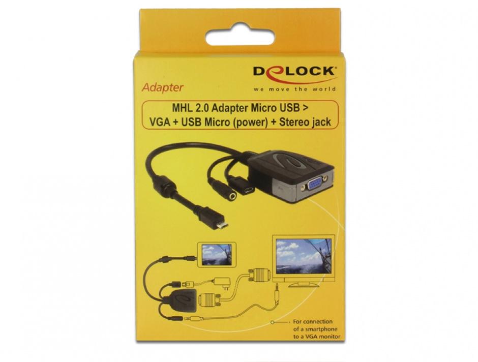 Imagine Adaptor MHL 2.0 Micro USB la VGA alimentare + sunet, Delock 65646