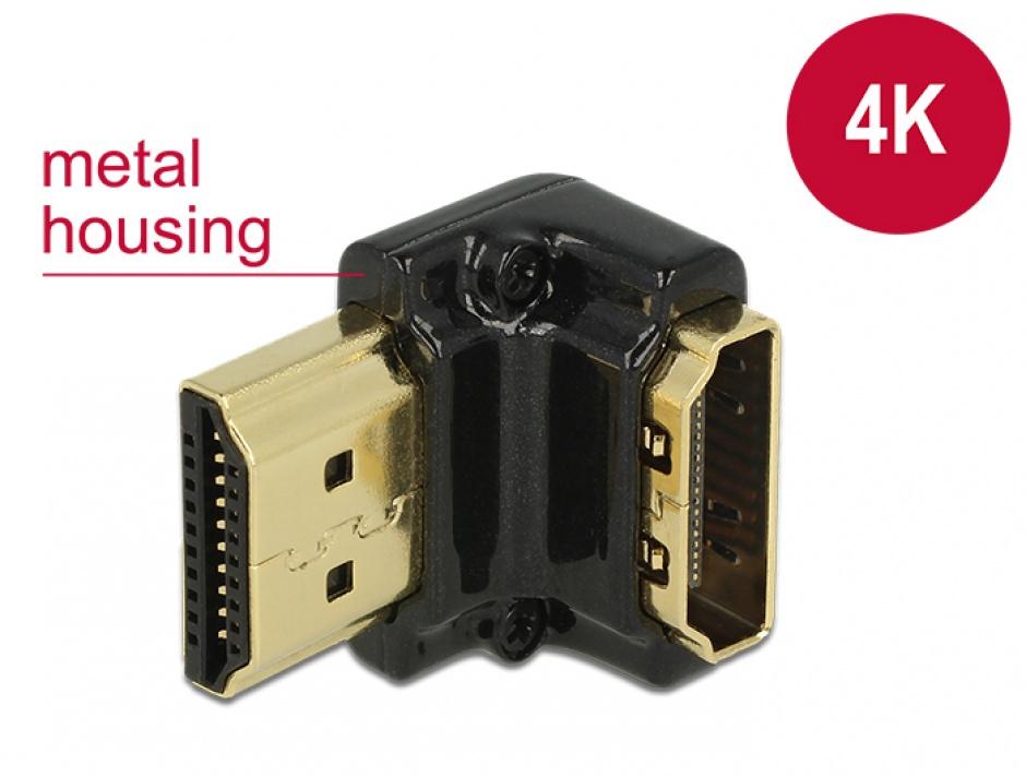 Imagine Adaptor HDMI-A T-M unghi 90 grade jos 4K carcasa metalica, Delock 65662