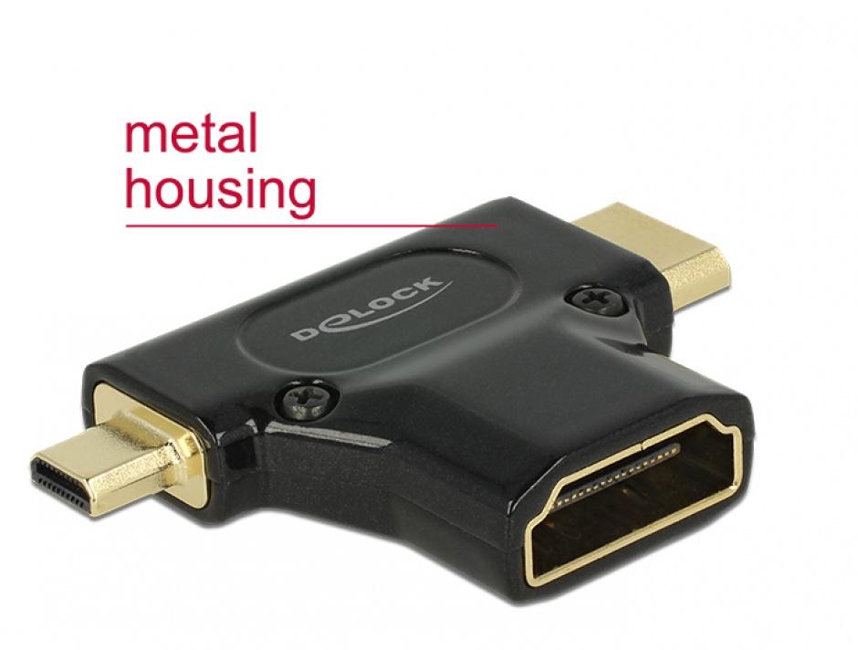 Imagine Adaptor HDMI la micro-D HDMI si mini-C HDMI T-M metalic, Delock 65666