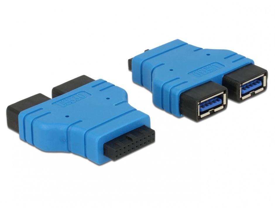 Imagine Adaptor USB 3.0 pin header la 2 x USB 3.0-A M-M, Delock 65670