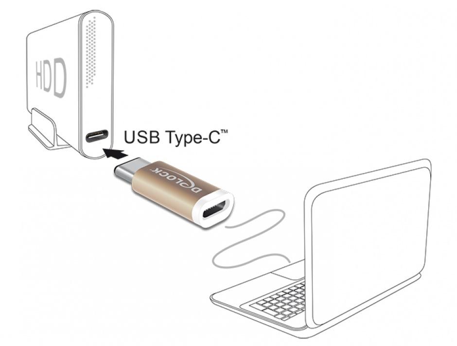 Imagine Adaptor micro USB la USB tip C 2.0 M-T, Delock 65677