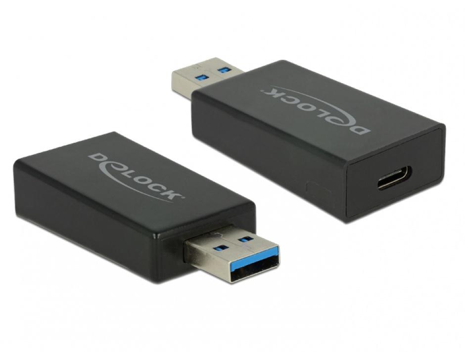 Imagine Adaptor activ SuperSpeed USB 3.1 tip A (host) la USB tip C (device) Etron T-M, Delock 65689