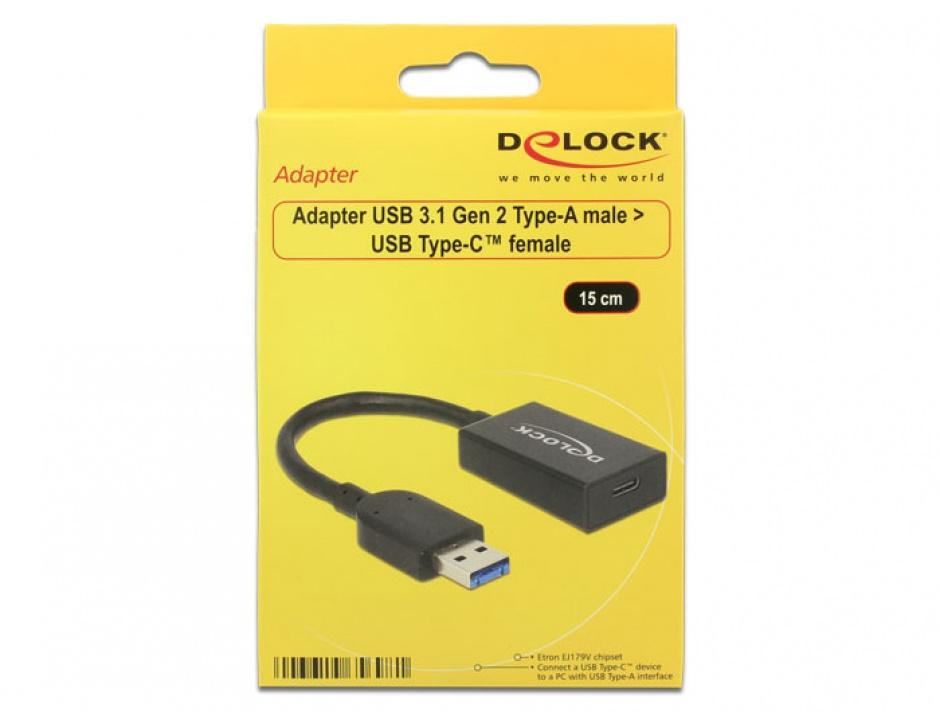 Imagine Adaptor USB 3.1-A (host) la tip C (device) T-M Activ 0.15m Negru, Delock 65698