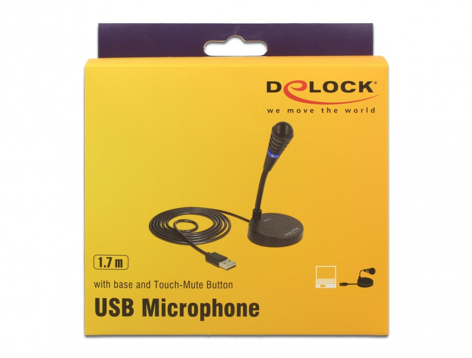 Imagine Microfon USB cu baza si buton tactil Mute, Delock 65868