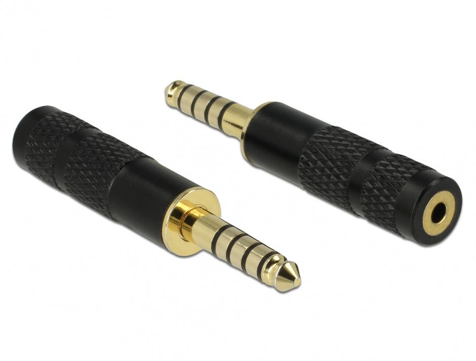 Imagine Adaptor Stereo jack 4.4 mm 5 pini la jack stereo 2.5 mm 4 pini T-M, Delock 65897