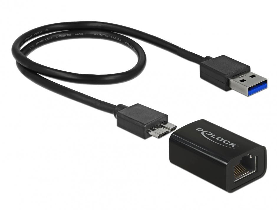 Imagine Adaptor USB 3.1 Gen 1 la Gigabit LAN compact, Delock 65916