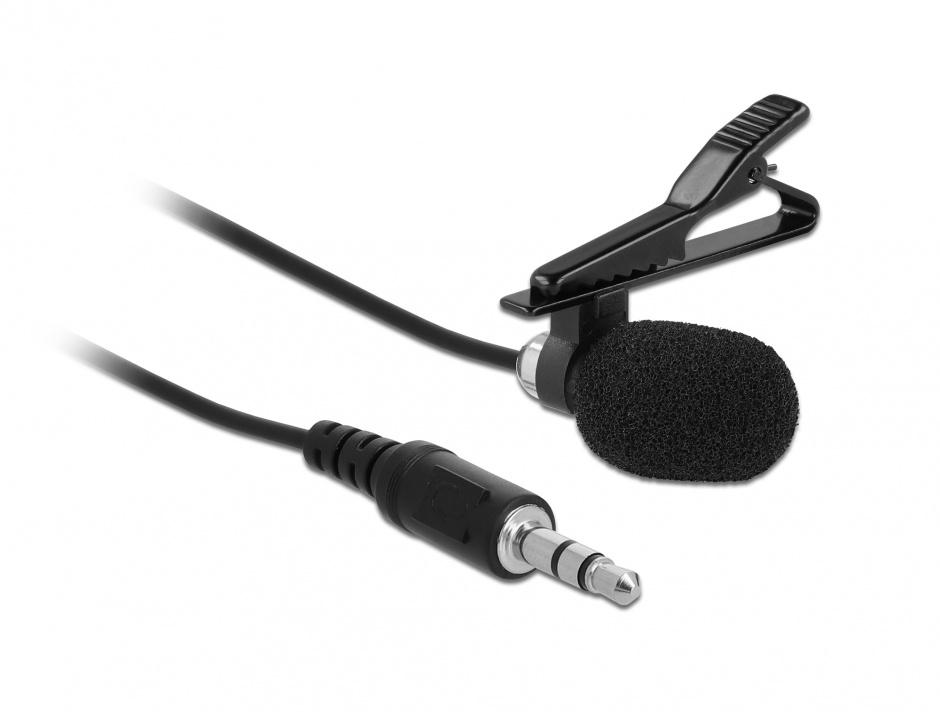 Imagine Microfon tip lavaliera Omnidirectional cu Clip jack stereo 3.5mm + Adaptor pentru Smartphone/tableta, Delock 66279
