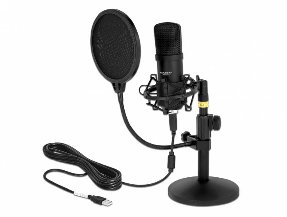 Imagine Microfon profesional USB pentru podcasting si jocuri, Delock 66300