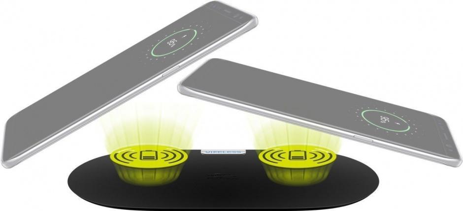 Imagine Pad pentru incarcare wireless 2 dispozitive 10W Negru, Goobay 66308