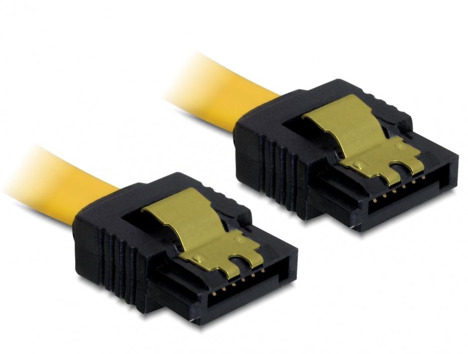 Imagine Cablu SATA II 3 Gb/s drept cu fixare 0.5m, Delock 82477