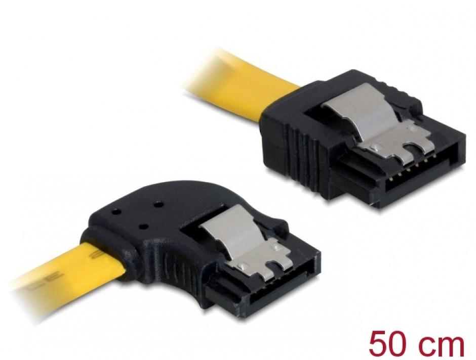 Imagine Cablu SATA II 3 Gb/s unghi stanga - drept cu fixare 0.5M, Delock 82493