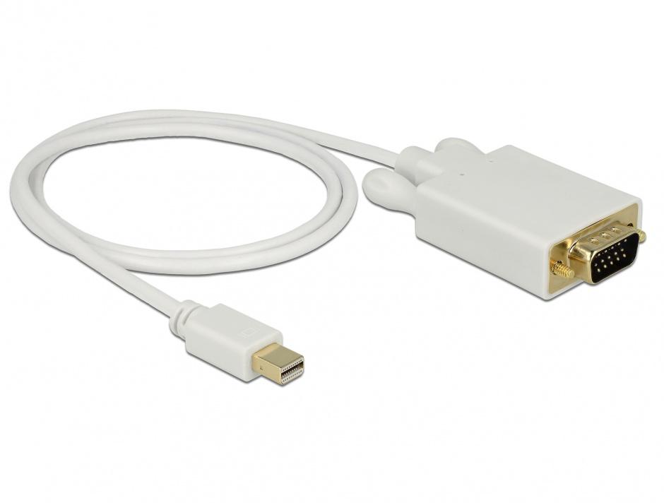 Imagine Cablu mini DisplayPort la VGA T-T 1m Alb, Delock 82639