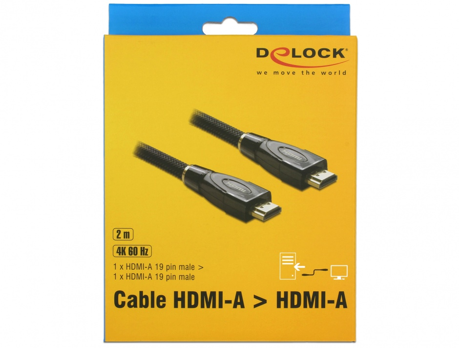 Imagine Cablu HDMI Premium 4K@30Hz T-T 2m, Delock 82737