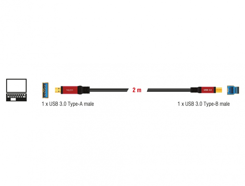Imagine Cablu USB 3.0 A-B Premium T-T 2m, Delock 82757
