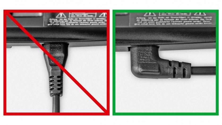 Imagine Cablu alimentare Euro la IEC C7 (casetofon) 2 pini 2m in unghi, Goobay 97350-1