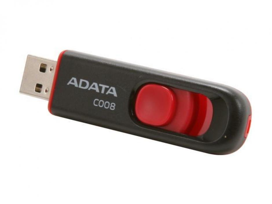 Imagine Stick USB 2.0 retractabil C008 32GB Negru&Rosu, ADATA