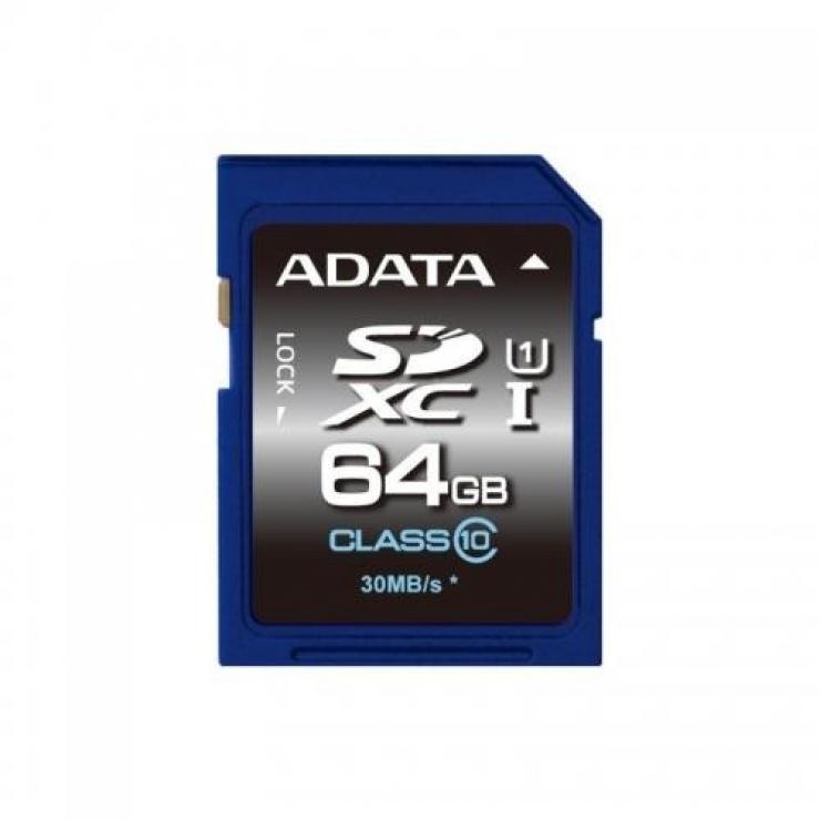 Imagine Card de memorie SDXC 64GB clasa 10, ADATA ASDX64GUICL10-R
