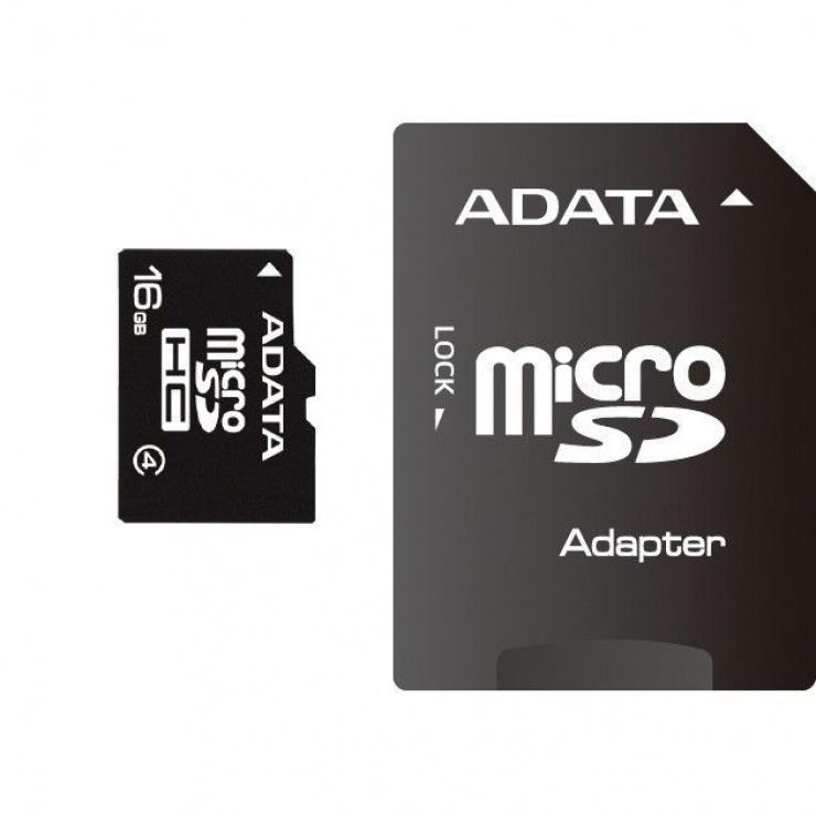 Imagine Card de memorie micro SDHC 16GB clasa 4 + adaptor SD, ADATA AUSDH16GCL4-RA1