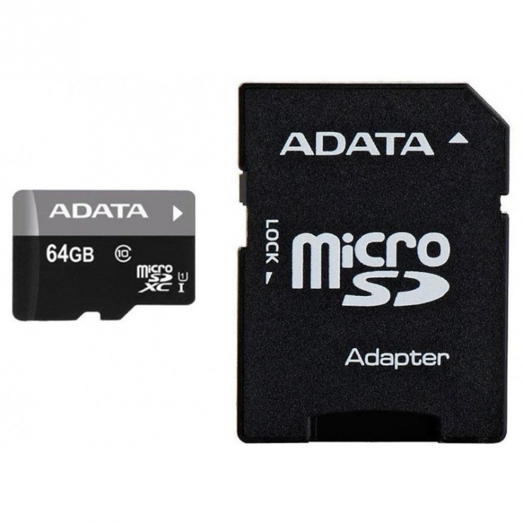 Imagine Card de memorie micro SDXC 64GB clasa 10 + adaptor SD, ADATA AUSDX64GUICL10-RA1