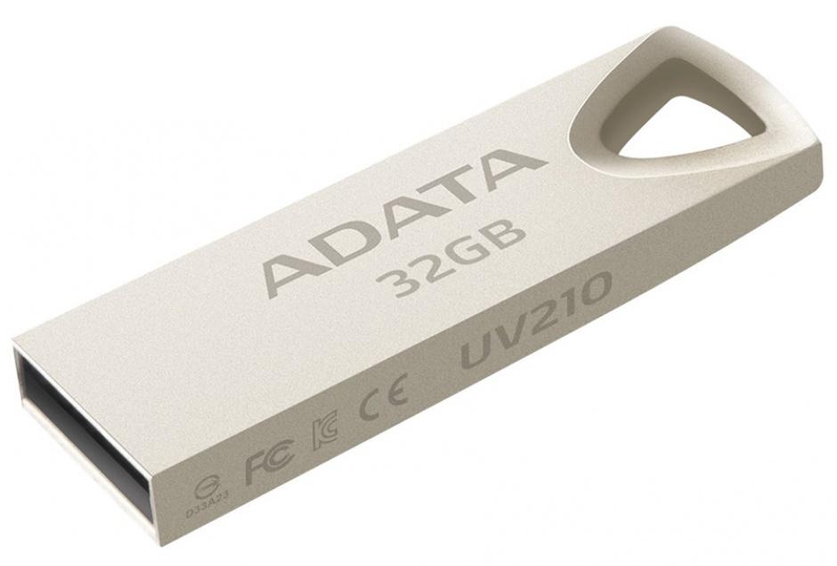 Imagine Stick USB 2.0 32GB aliaj zinc, rezistent la apa/praf/socuri Gold Crom, ADATA