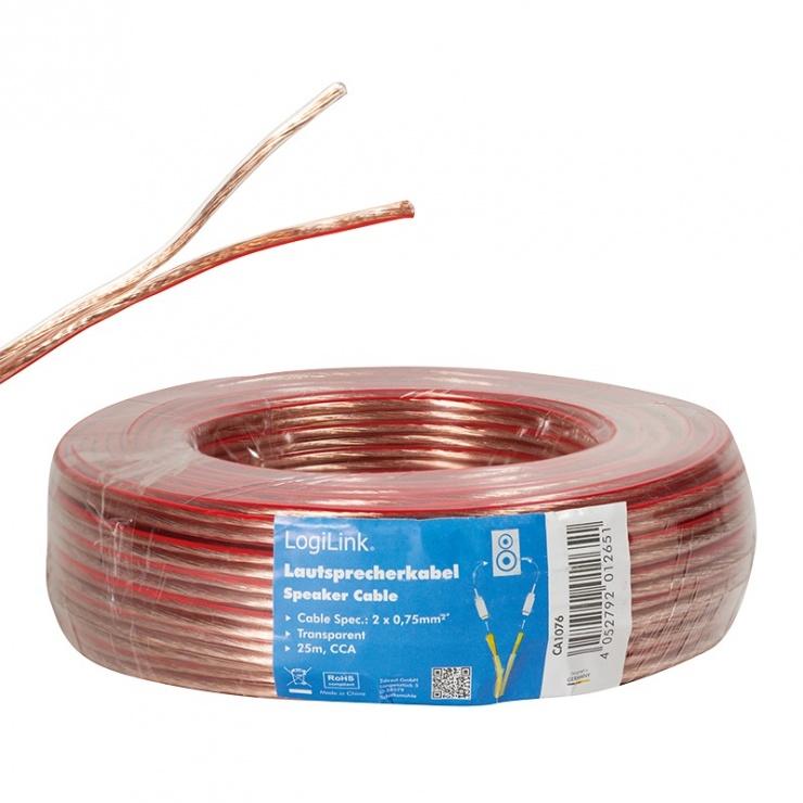Imagine Cablu pentru boxe/difuzor 2x 0.75 mm 25m, Logilink CA1076