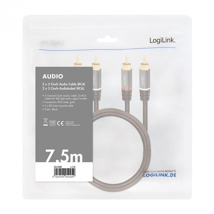 Imagine Cablu 2 x RCA la 2 x RCA T-T 7.5m Negru, Logilink CA1208