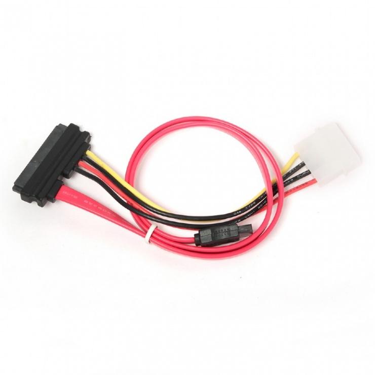 Imagine Cablu SATA 22 pini la 7 pini + alimentare Molex, Gembird CC-SATA-C1-1