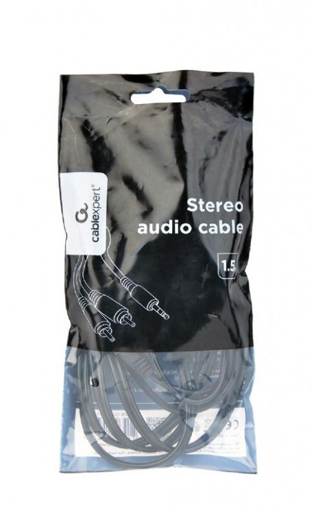 Imagine Cablu audio Premium jack 3.5mm la 2 x RCA T-T 1.5m, Gembird CCA-352-1.5M