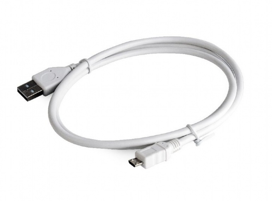Imagine Cablu USB 2.0 la micro USB-B 1m T-T Alb, Gembird CCP-mUSB2-AMBM-W-1M