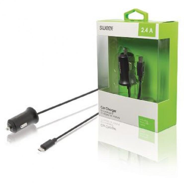 Imagine Incarcator auto cu micro USB 1m 2.4A, Sweex CH-008BL